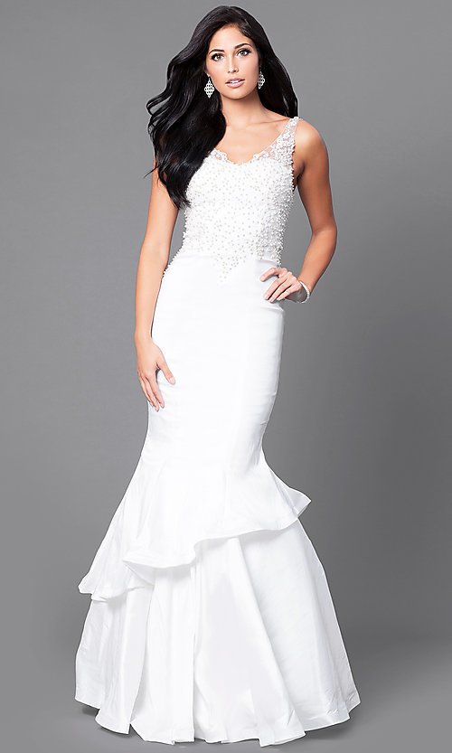 Image of formal long mermaid prom dress with sequined lace. Style: DQ-9457 Detail Image 2