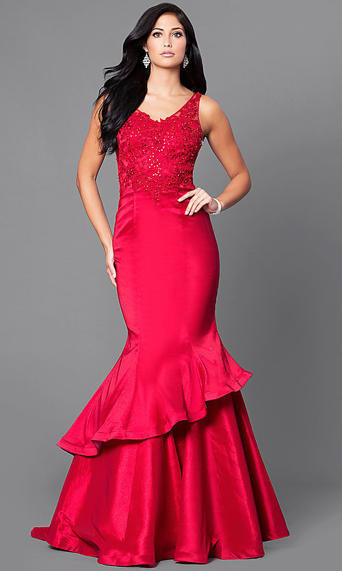 Image of formal long mermaid prom dress with sequined lace. Style: DQ-9457 Front Image