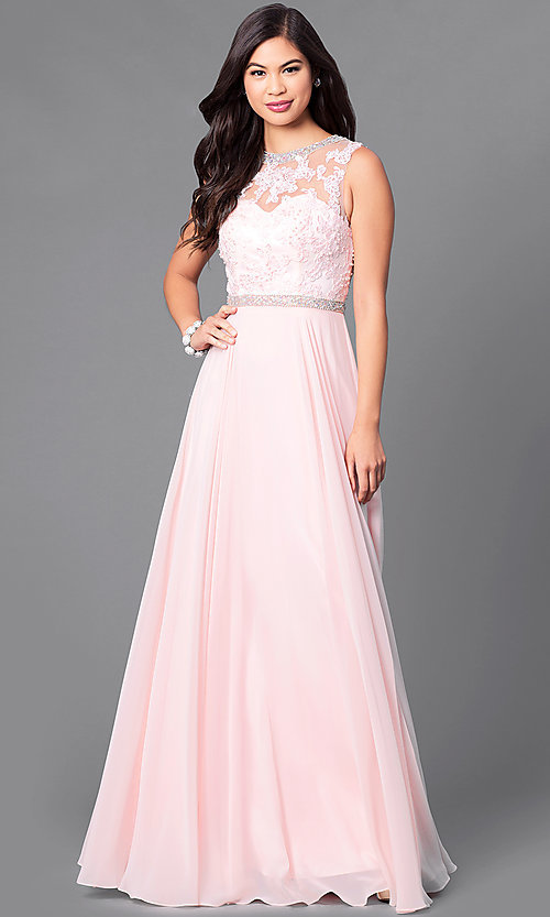 Image of sleeveless high-neck floor-length formal gown. Style: DQ-9458 Detail Image 1