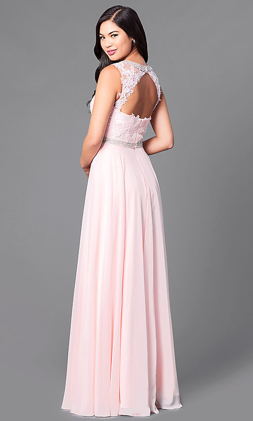 Image of sleeveless high-neck floor-length formal gown. Style: DQ-9458 Back Image