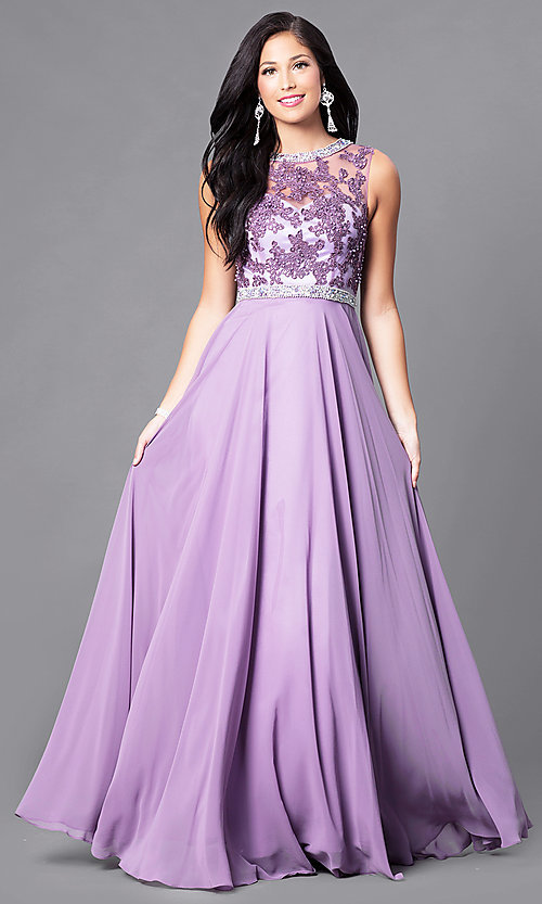 Image of sleeveless high-neck floor-length formal gown. Style: DQ-9458 Front Image