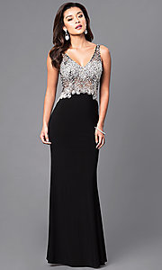 Image of v-neck long formal dress with sheer beaded bodice. Style: DQ-9470 Detail Image 1