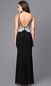 Image of v-neck long formal dress with sheer beaded bodice. Style: DQ-9470 Back Image