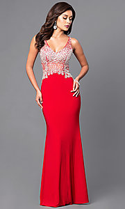 Image of v-neck long formal dress with sheer beaded bodice. Style: DQ-9470 Front Image