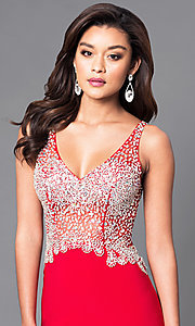 Image of v-neck long formal dress with sheer beaded bodice. Style: DQ-9470 Detail Image 2