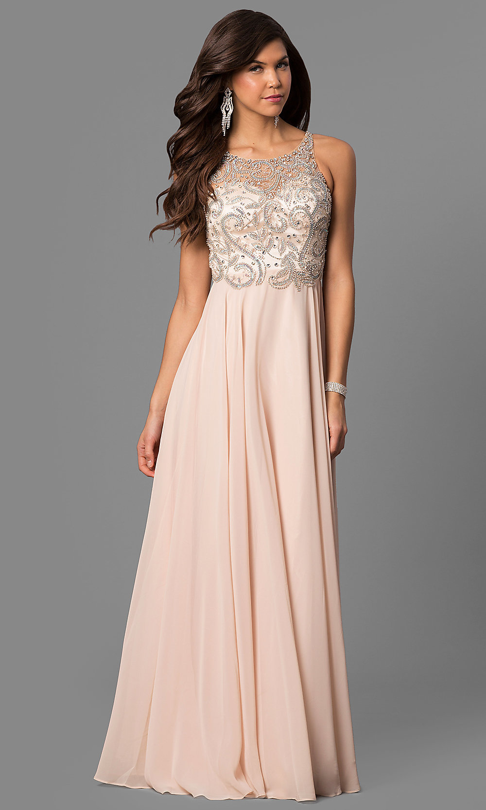 Illusion Lace Appliqued Pearls Embellished Nude Pink Tulle