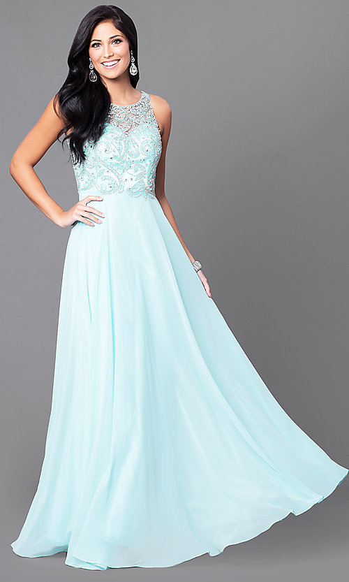 Image of beaded-bodice long prom dress with open back. Style: DQ-9474 Detail Image 2