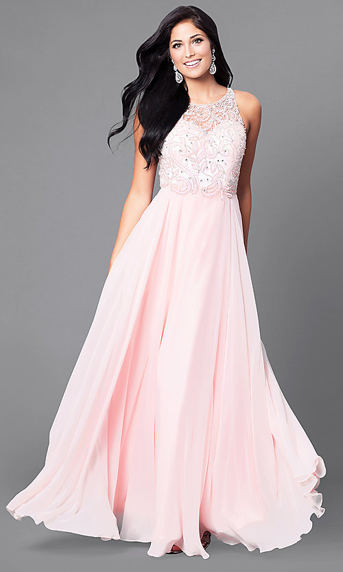 Image of beaded-bodice long prom dress with open back. Style: DQ-9474 Detail Image 1