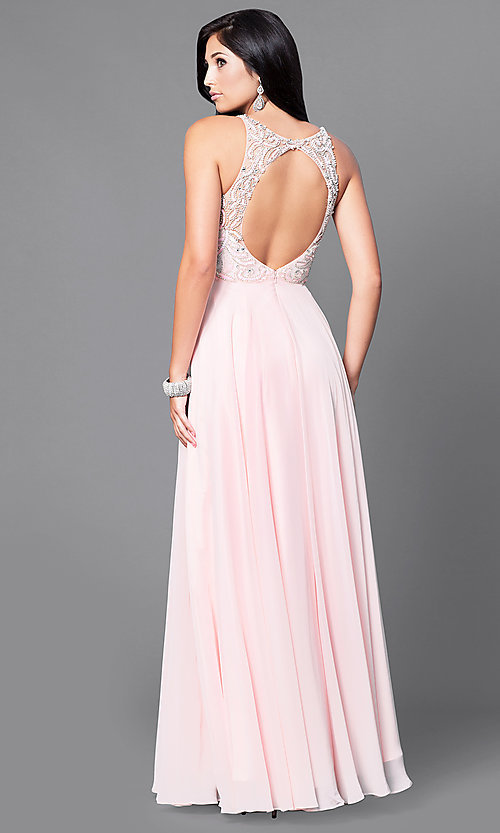 Image of beaded-bodice long prom dress with open back. Style: DQ-9474 Back Image