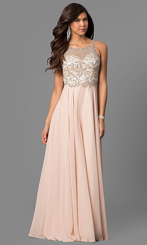 Image of beaded-bodice long prom dress with open back. Style: DQ-9474 Front Image