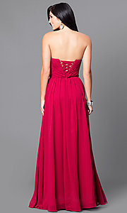 Image of floor-length ruched strapless formal gown. Style: DQ-9488 Back Image