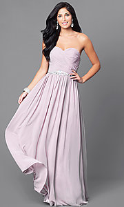 Image of floor-length ruched strapless formal gown. Style: DQ-9488 Front Image