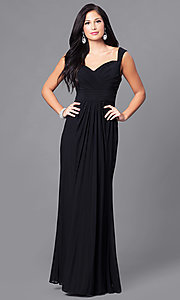 Image of ruched floor-length sweetheart formal prom gown. Style: DQ-9498 Front Image