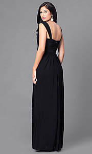 Image of ruched floor-length sweetheart formal prom gown. Style: DQ-9498 Back Image