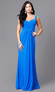 Image of ruched floor-length sweetheart formal prom gown. Style: DQ-9498 Detail Image 3