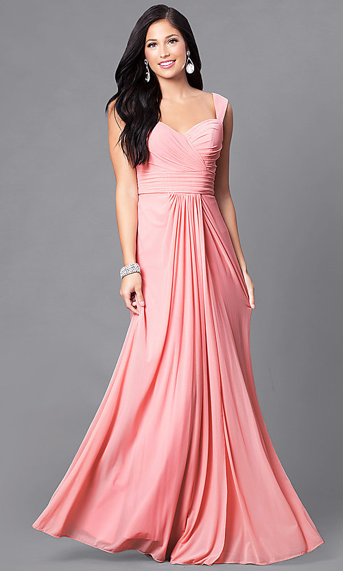Image of ruched floor-length sweetheart formal prom gown. Style: DQ-9498 Detail Image 1