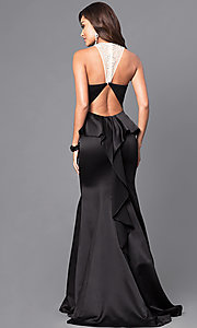 Image of long sweetheart prom dress with ruffled bustle. Style: DQ-9525 Back Image