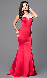 Image of long sweetheart prom dress with ruffled bustle. Style: DQ-9525 Front Image