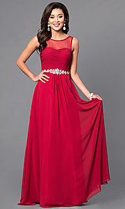 Image of illusion sweetheart ruched sleeveless prom gown. Style: DQ-9541 Front Image