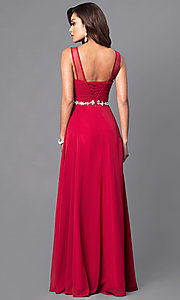 Image of illusion sweetheart ruched sleeveless prom gown. Style: DQ-9541 Back Image