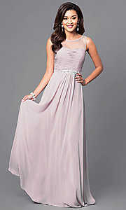 Image of illusion sweetheart ruched sleeveless prom gown. Style: DQ-9541 Detail Image 3