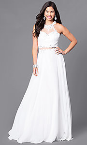 Image of illusion-lace long formal gown with jeweled bodice. Style: DQ-9548 Detail Image 1