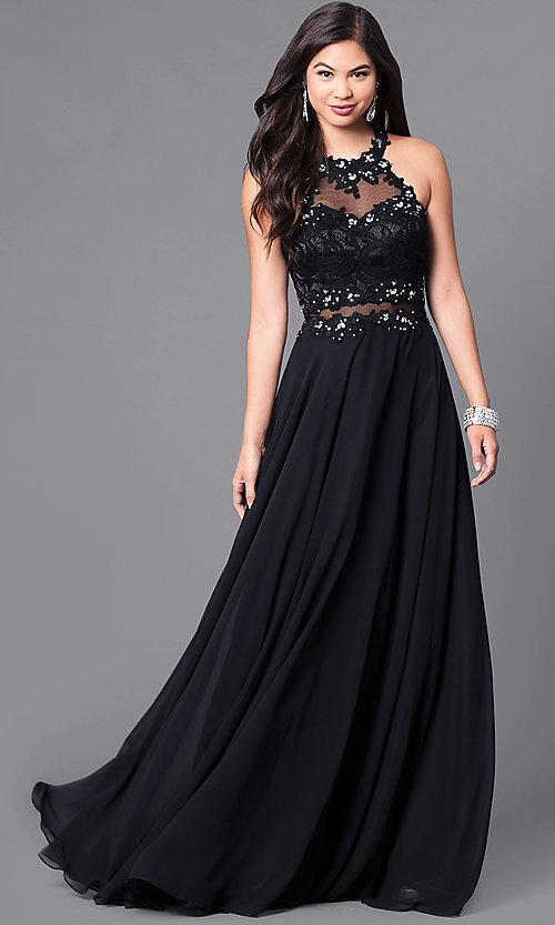 Image of illusion-lace long formal gown with jeweled bodice. Style: DQ-9548 Front Image