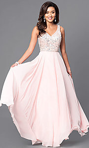 Image of long prom dress with beaded v-neck bodice.  Style: DQ-9589 Detail Image 2