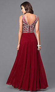 Image of long prom dress with beaded v-neck bodice.  Style: DQ-9589 Back Image