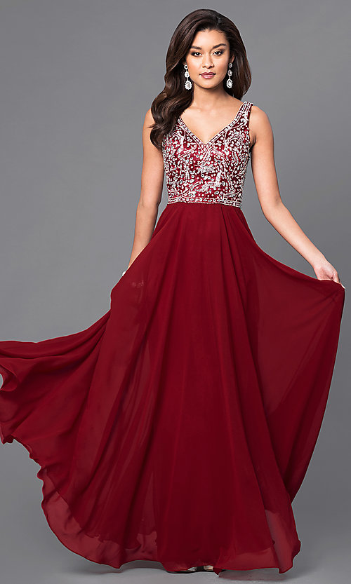 Image of long prom dress with beaded v-neck bodice.  Style: DQ-9589 Front Image