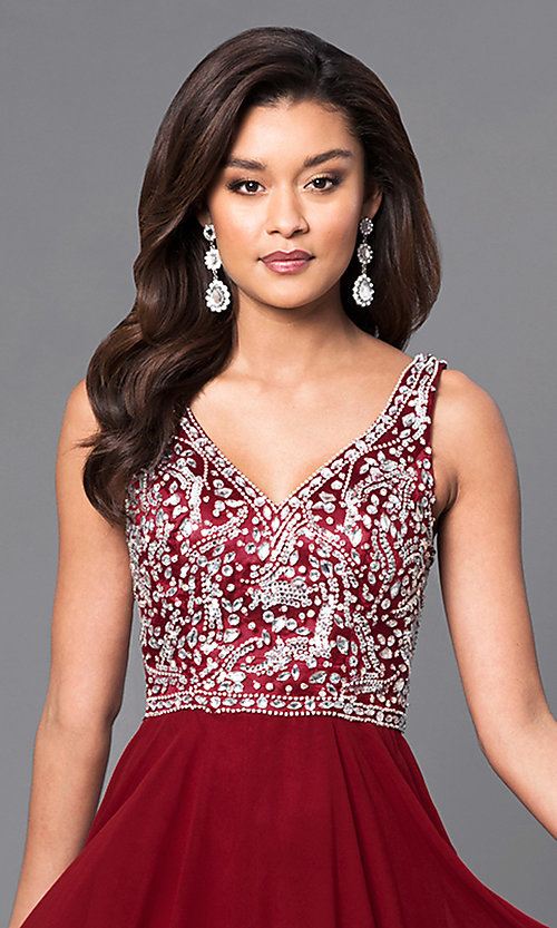 Image of long prom dress with beaded v-neck bodice.  Style: DQ-9589 Detail Image 1