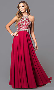 Image of embellished high-neck bodice long formal dress. Style: DQ-9591 Front Image