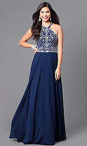 Image of embellished high-neck bodice long formal dress. Style: DQ-9591 Detail Image 1
