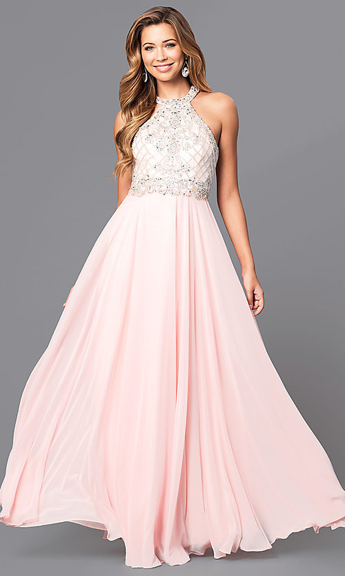 Image of embellished high-neck bodice long formal dress. Style: DQ-9591 Detail Image 3