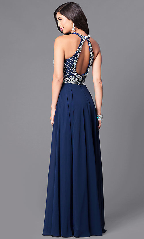 Image of embellished high-neck bodice long formal dress. Style: DQ-9591 Back Image