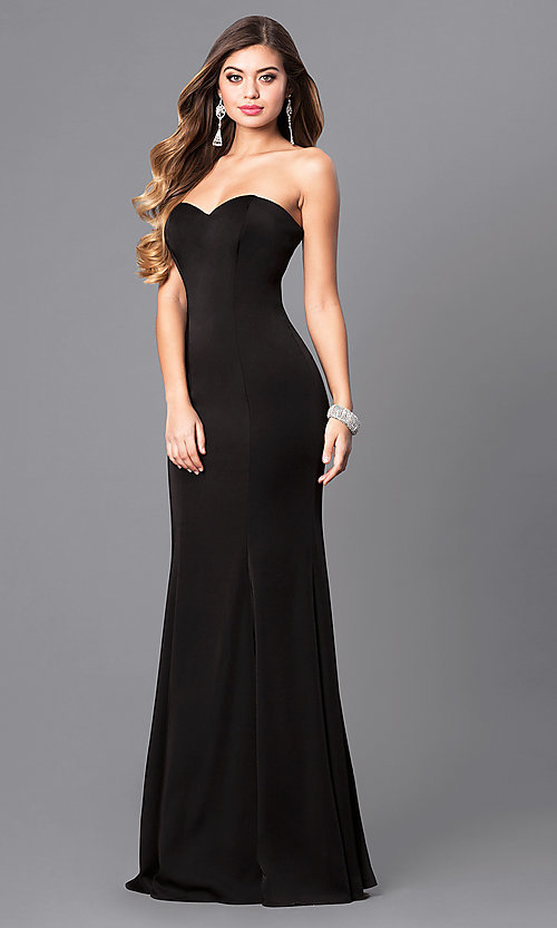 Image of long satin sweetheart formal military-ball gown. Style: DQ-9607 Detail Image 1