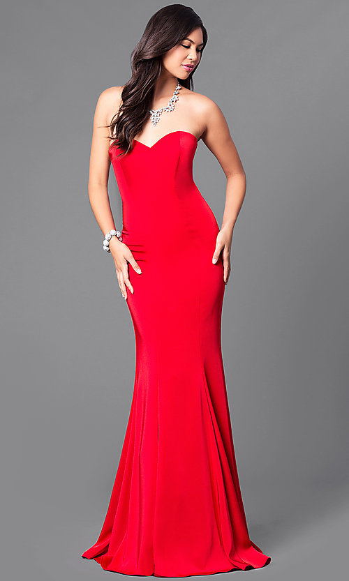 Image of long satin sweetheart formal military-ball gown. Style: DQ-9607 Front Image