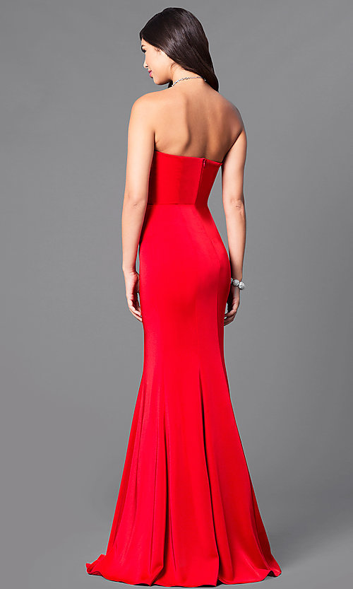 Image of long satin sweetheart formal military-ball gown. Style: DQ-9607 Back Image