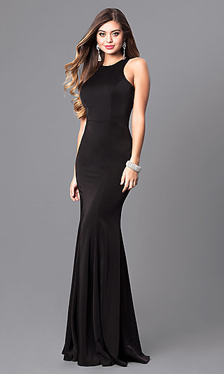 Mermaid Long Formal Dress with High Neckline