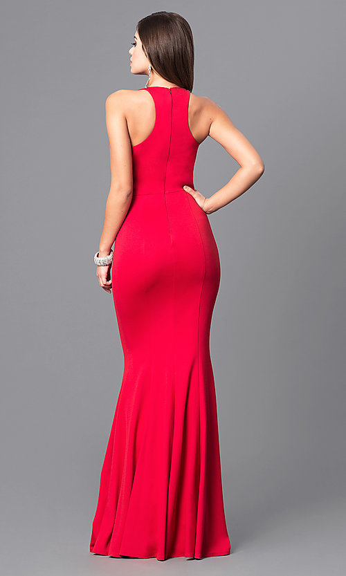Image of high-neck formal dress with mermaid skirt. Style: DQ-9635 Back Image