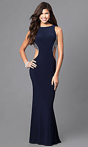 Image of navy blue long formal dress with side cut outs. Style: DJ-A4739 Detail Image 1