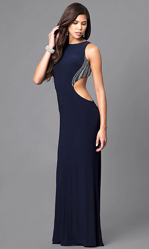 Image of navy blue long formal dress with side cut outs. Style: DJ-A4739 Front Image