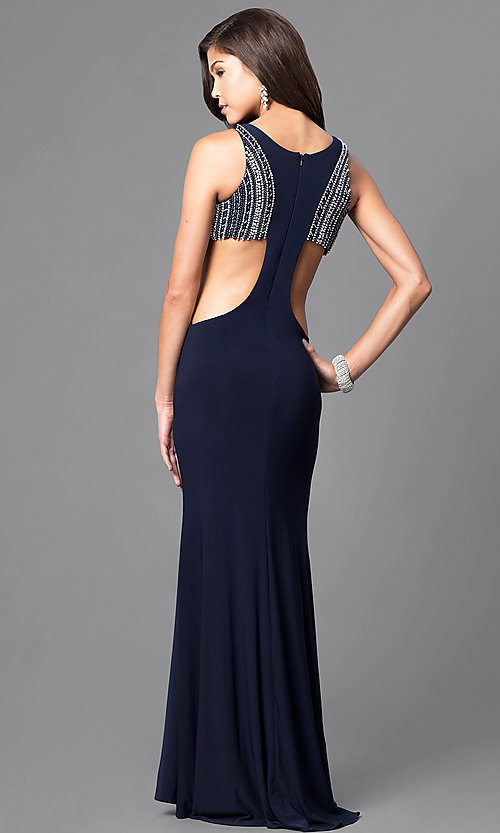 Image of navy blue long formal dress with side cut outs. Style: DJ-A4739 Back Image
