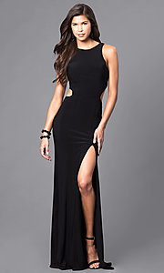Image of racerback long black formal dress with cut outs. Style: DJ-5082 Front Image