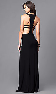 Image of racerback long black formal dress with cut outs. Style: DJ-5082 Back Image