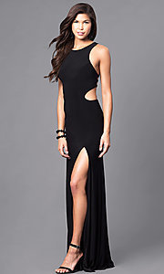 Image of racerback long black formal dress with cut outs. Style: DJ-5082 Detail Image 1