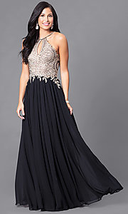 Image of black long junior prom dress with beaded bodice. Style: DJ-5011 Detail Image 2