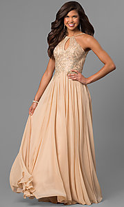 Image of black long junior prom dress with beaded bodice. Style: DJ-5011 Detail Image 3