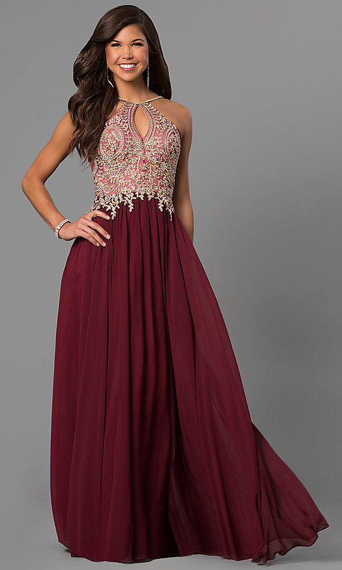 Image of black long junior prom dress with beaded bodice. Style: DJ-5011 Front Image