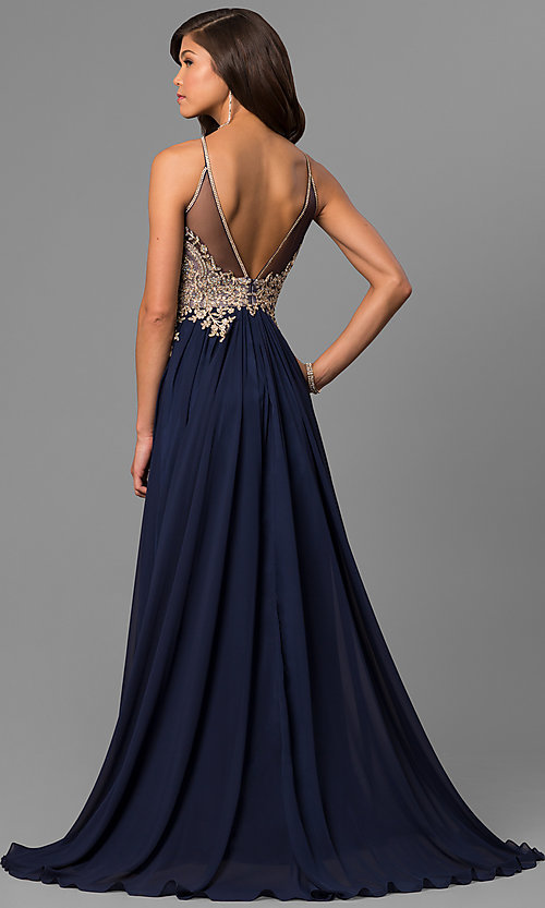 Image of black long junior prom dress with beaded bodice. Style: DJ-5011 Back Image